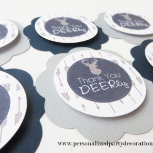 deer navy and gray baby shower favor gift bag tag