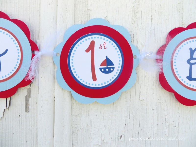 Nautical First Birthday Party Banner