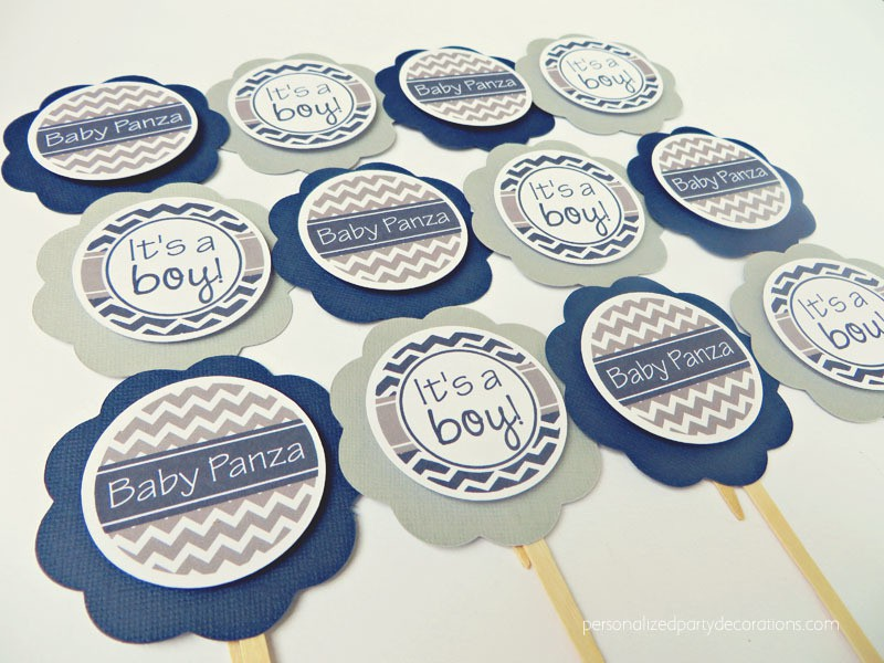 navy-and-gray-chevron-baby-shower-cupcake-toppers