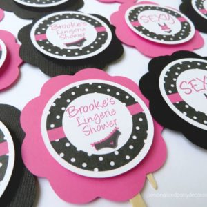Lingerie Bridal Shower Cupcake Toppers
