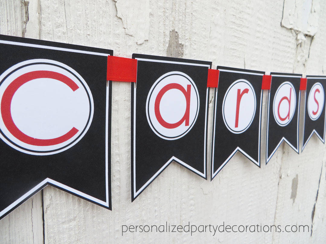 cards graduation party banner red and black