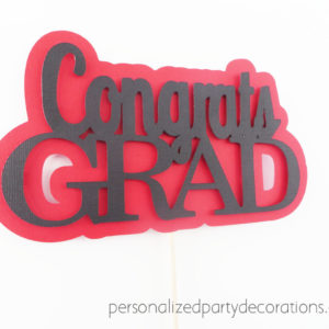 congrats grad cake topper red and black