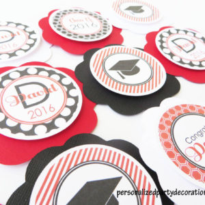 customized preppy red and black graduation party cupcake toppers