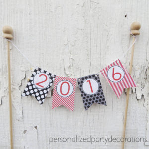 preppy bunting flag cake topper graduation party