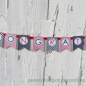 red and black pretty congrats graduation party banner unisex