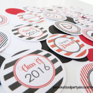 red and black stripe graduation confetti customized