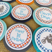 motorcycle birthday party cupcake toppers