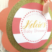 coral and gold baby shower door sign