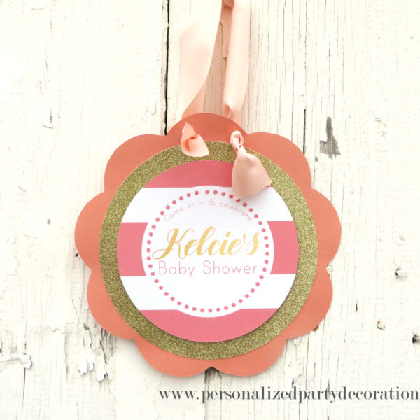 coral and gold baby shower welcome sign