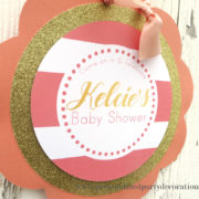 coral and gold striped baby shower welcome sign