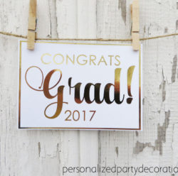 congrats grad gold foil sign