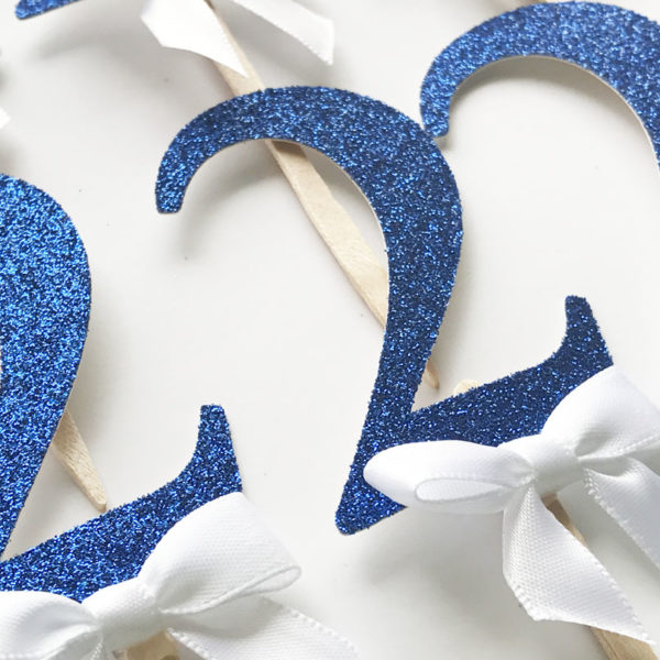 2 blue and white glitter cupcake toppers Boy birthday