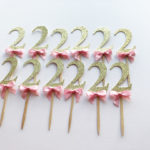 Glitter gold pink bow two cupcake toppers
