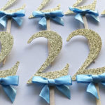 boy gold blue 2nd birthday cupcake toppers