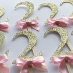 girl 2nd birthday gold glitter 2 cupcake toppers