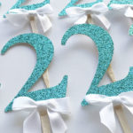 glitter gold turquoise 2 cupcake toppers