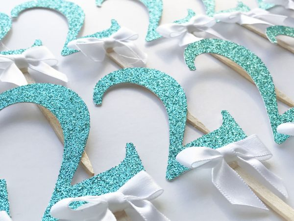 glitter turquoise white 2 cupcake toppers