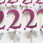 pink glitter two birthday cupcake toppers