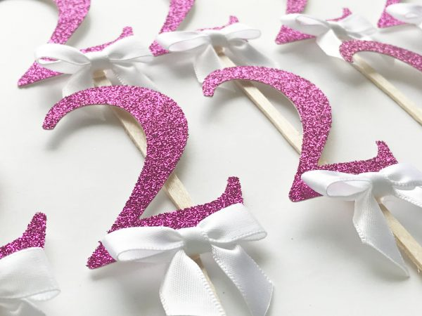 pink glitter two girl birthday party cupcake toppers