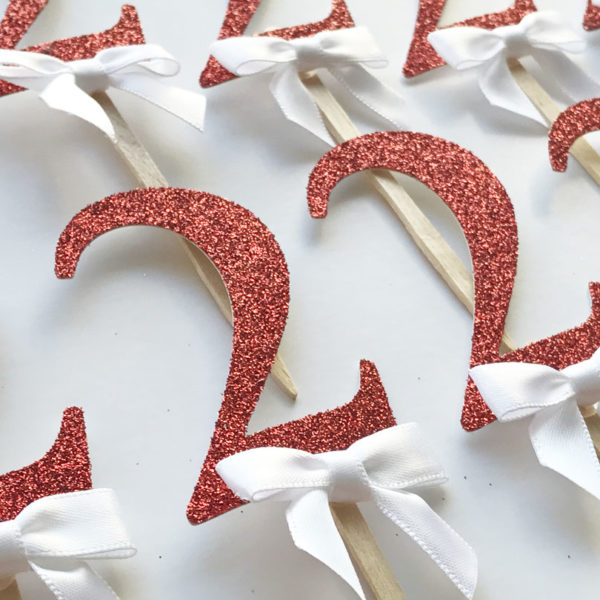 red glitter 2nd birthday cupcake toppers