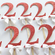 red gold 2nd birthday cupcake toppers