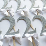silver glitter 2nd birthday cupcake toppers