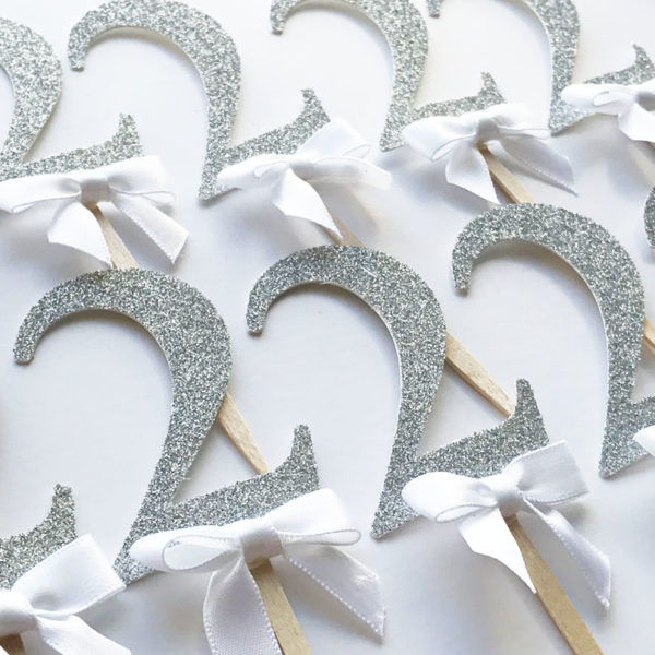 silver glitter number 2 birthday cupcake toppers