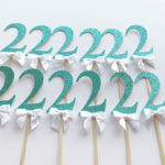 turquoise glitter cupcake toppers white bow 2nd birthday